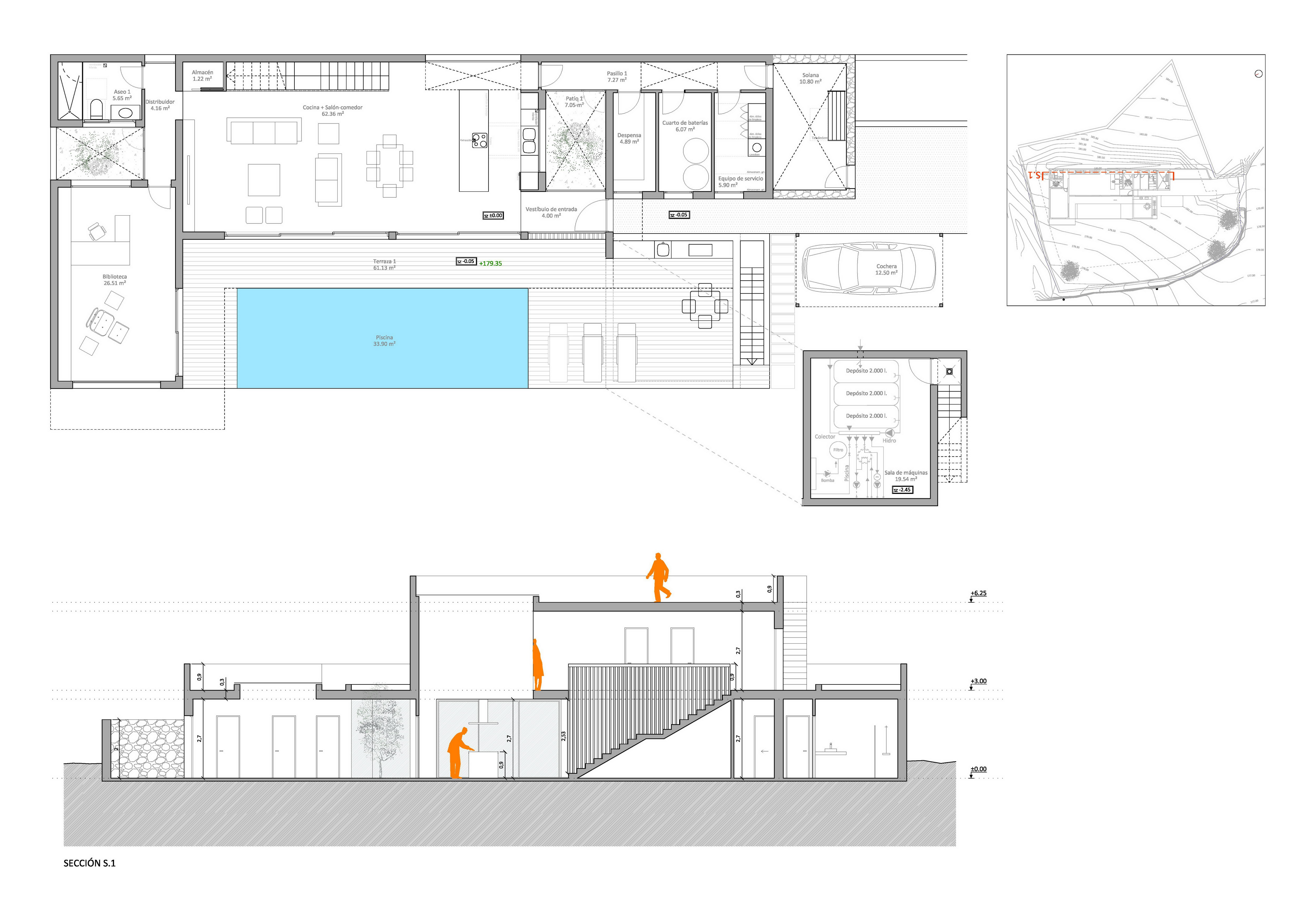 Plans EA 1909 2 ground floor section s1